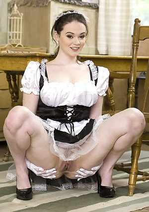 Unstoppable maid is enjoying wild fuck session with the juicy maid. He is fucking her face and sensual vagina on the big green sofa.