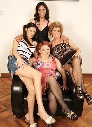 Hot young babe lezzin up three older mature sluts