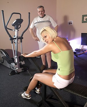 A sporty sweetheart shagging a horny old senior hardcore