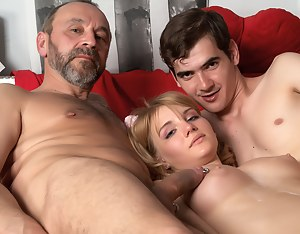 Awesome babe with blond hair gets her mouth and virgin pussy fucked really hard with two large dicks