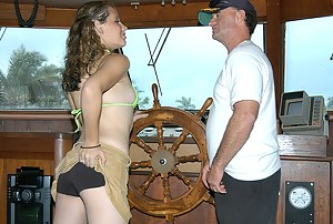 Natural tits teased and wet pussy pounded. Formidable babe in sexy bikini is seduced by a handsome sailor for a ride on his yacht.