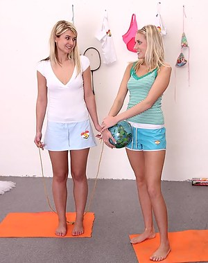 Two hot young blondes hanging out together and having sex