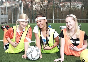Three teenage sweeties playing games after a soccer game