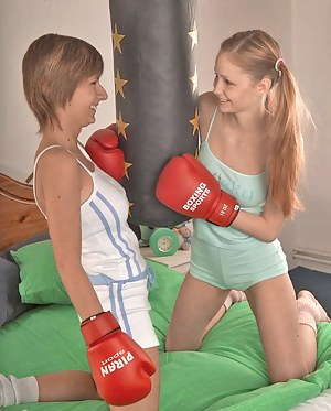 Sexy fight turns these hot sporty teens into horny cuties