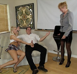 Mature milf Mrs. Ray sucking huge cock and sharing it with her step daughter Mary Jane