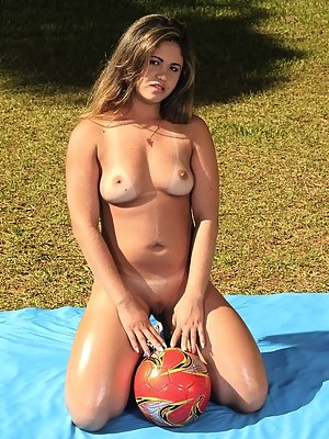 Busty Brazilian chick is playing football with the strong man. She is losing the game and getting punished with his penis on the field.