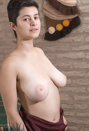 Sue is a tattooed natural beauty and has sexy short hair. She strips and shows her natural breasts and her tight body. She lays in bed, shows her ass and her hairy pussy from behind which is amazing.