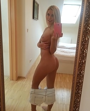 Her new apartment is big, so there are so many places where to have filthy fun there. She is masturbating on the stairs and getting banged on the sofa.
