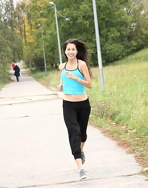Very horny damp girl enjoys running for hot teenage sex