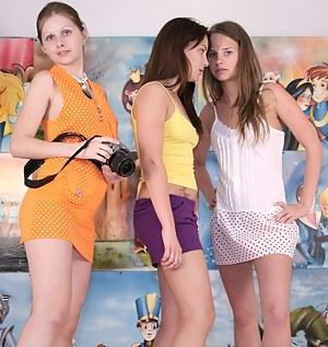 Cute camera loving lesbian teens enjoy playing with dildos