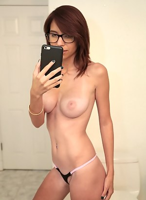 Slutty woman wearing glasses is demonstrating great fuck skills. She is presenting her partner with tits fucking and blowjob before getting twat drilled.