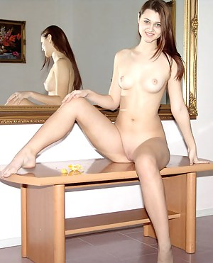 Tight virgin with shaved twat mirroring nude body