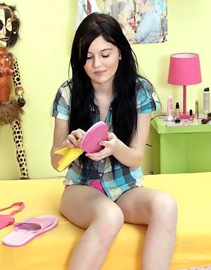 Horny innocent teenager pleasures her bald soaked cooch